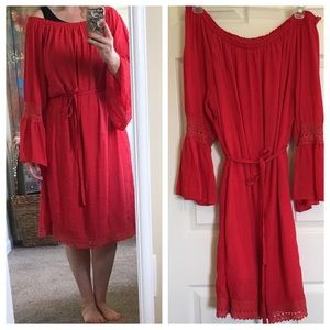 Red Off Shoulder Lined Dress by MPH Collection